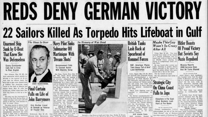 Tampa Daily Times headlines tell of a Nazi submarine attack in New Orleans.