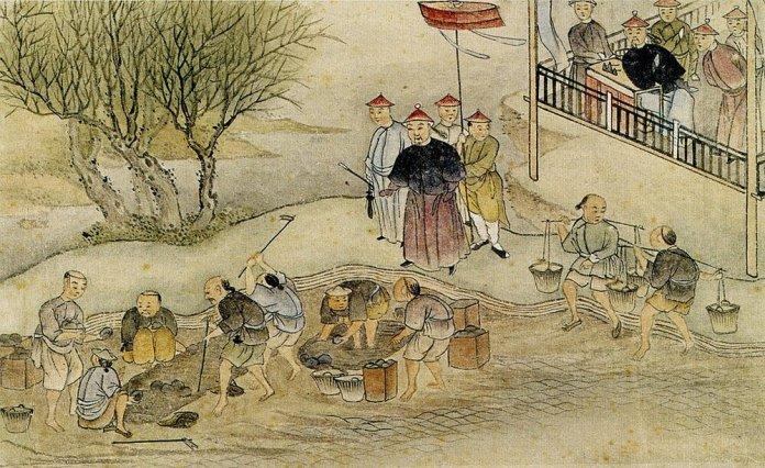 Lin Zexu and the destruction of opium.