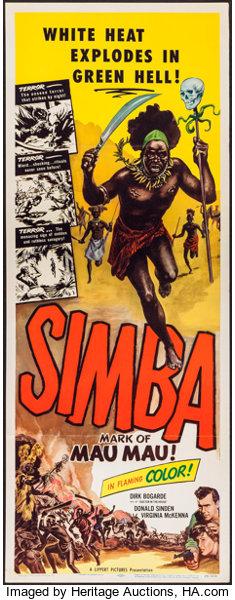 """Movie Posters:Drama, Simba: Mark of the Mau Mau (Lippert, 1955). Insert (14"""" X 36""""). Drama.. ..."""