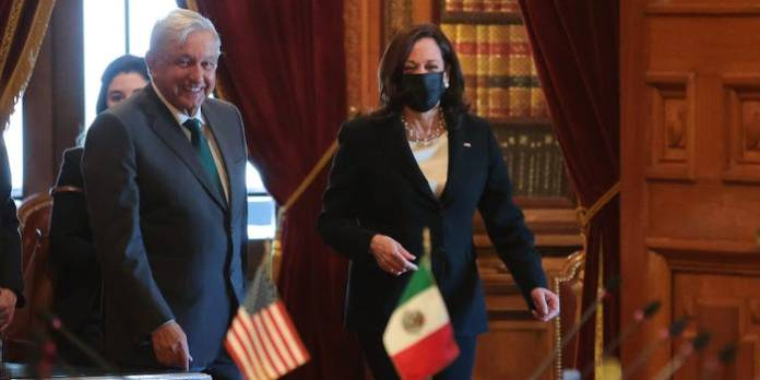 President of Mexico Andres Manuel Lopez Obrador and Vice President Kamala Harris