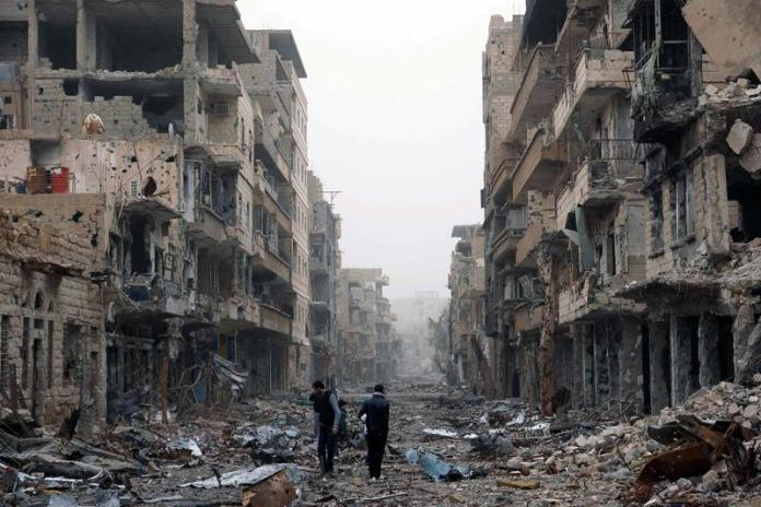 The destruction caused by the Syrian civil war which over the past five years.- AFP