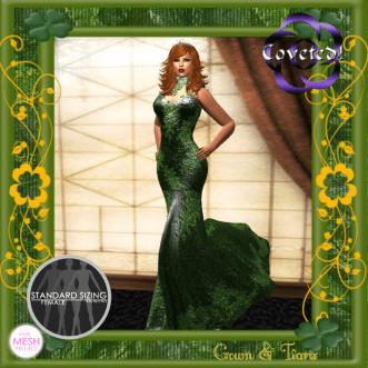 Elegant Emerald Gown + Crown