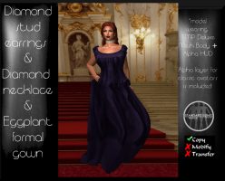 Eggplant Formal Gown & Jewelry