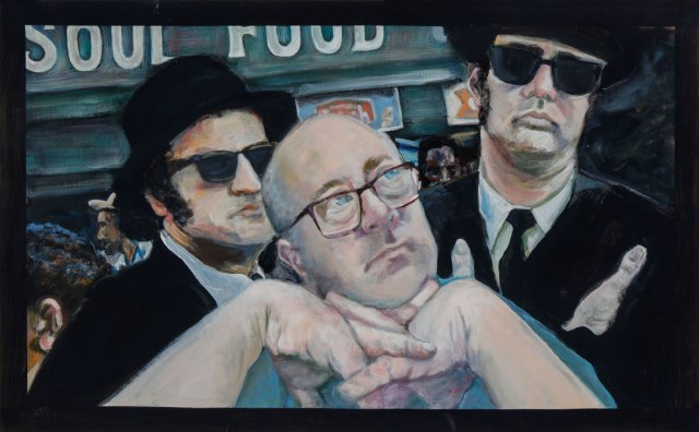 A painting of man against a virtual backdrop depicting the Blues Brothers.