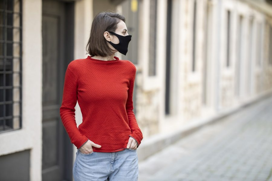 woman with mask on