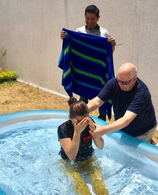Baptizing Yahaira at our house. God is Good!