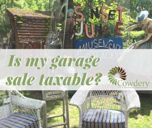 Is my garage sale taxable?   CowderyTax.com