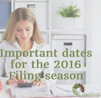 Important Dates to Know for the 2016 Filing Season