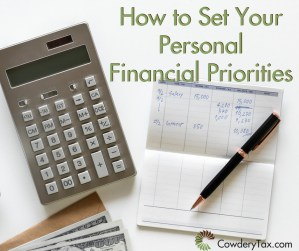 How to Set Personal Financial Priorities | Cowdery Tax & Business Solutions