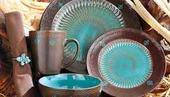 Brown-and-Turquoise-Plate-Set