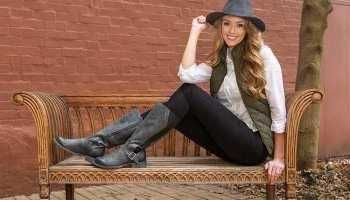 durango boots crush black girl on bench