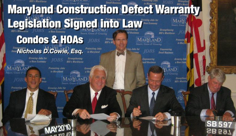 Condominium Construction Defect Warranty Law Attorney Nicholas Cowie is the author of Laws Extending Warranties for Maryland Condominium and Homeowners Associations