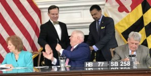 New Maryland Law Prevents Shortening Statute of Limitations Applicable to Condominium Construction Defect Claims Back Row (left to right): Nicholas D. Cowie and Delegate Marvin E. Holmes, Jr. Front Row (left to right): Senate Deputy Majority Leader Katherine A. Klausmeter; Governor Lawrence J. Hogan; and Speaker of the House of Delegates Michael E. Busch