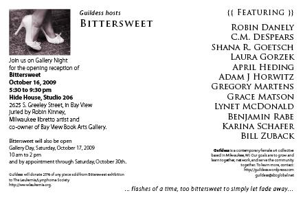 Bittersweet Postcard Back - Opening October 16, 2009