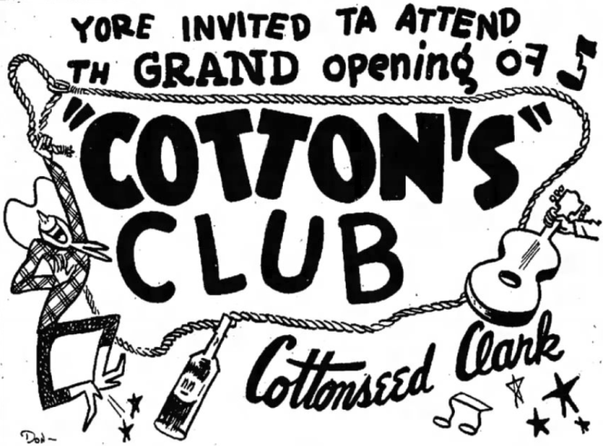 Cotton's Club Ad (Image)