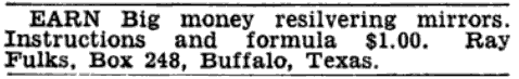 Ray Fulks, Buffalo, Texas (Advertisement)