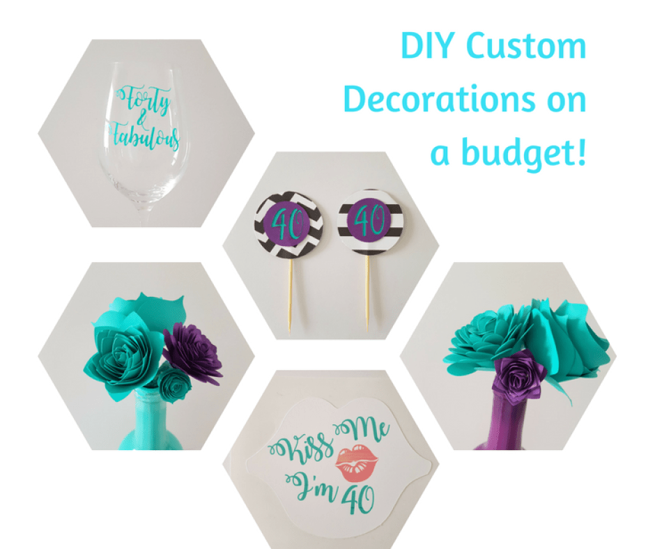 DIY 40th Birthday Party Decorations - Purple and teal themed birthday party decorations including cupcake toppers, banner, wine glass, chalkboard birthday sign and more!