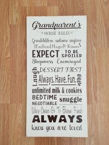 coxandthehen - grandparents rules wood sign 1