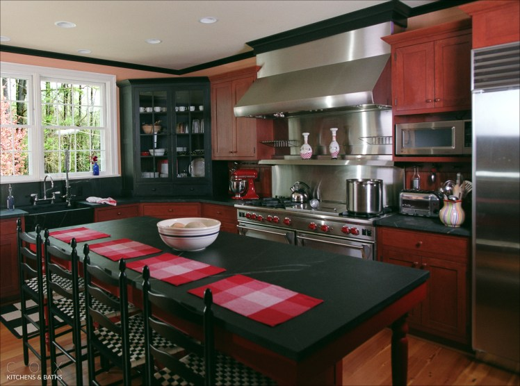 Red, blue and black kitchen in Wyngate