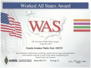 KS5TX WAS award!