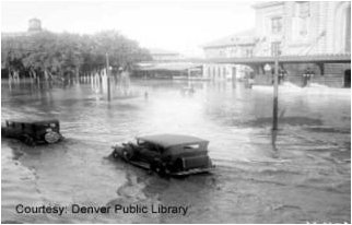 Cherry Creek Flood August 3, 1933 -- photo via the Denver Public Library