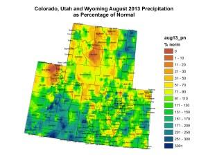 August precipitation as a percent of normal for the Upper Colorado River Basin -- photo/Colorado Climate Center