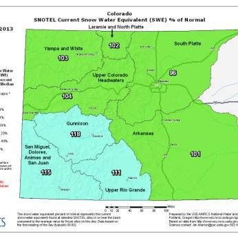 Snow Water Equivalent as a percent of normal December 22, 2012 via NRCS