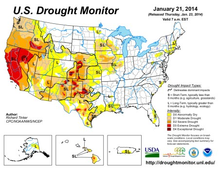US Drought Monitor January 21, 2014