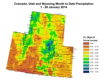 Upper Colorado River Basin month to date precipitation thru January 26, 2014