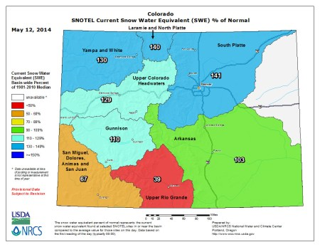 Snow water equivalent as a percent of normal May 12, 2014 via the NRCS