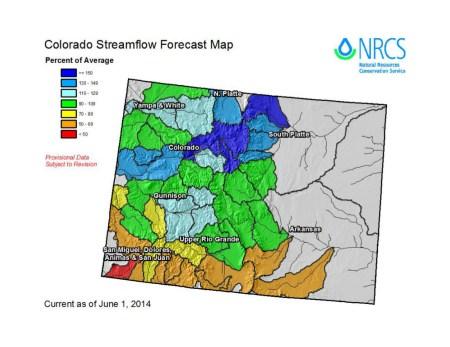 NRCS Streamflow Forecast June 1, 2014
