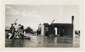 Salvage crew at St. Thomas, Nevada during Lake Mead first fill, 1938 via University of Nevada Las Vegas