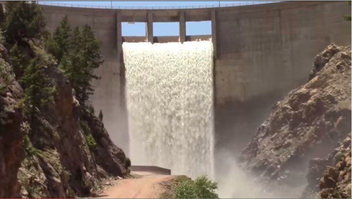 Strontia Springs Dam spilling June 2014 via Denver Water