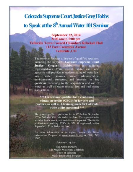 2014 Water 101 Seminar Flyer