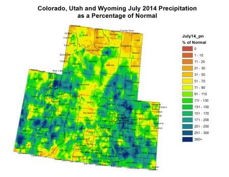 Upper Colorado River Basin precipitation as a percent of normal July 2014 via the Colorado Climate Denver