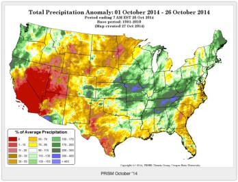 Precipitation anomaly October 1 thru October 28, 2014 via Prism
