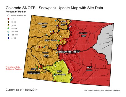 Statewide Snowpack Map November 4, 2014 via the NRCS