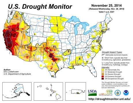 US Drought Monitor November 25, 2014