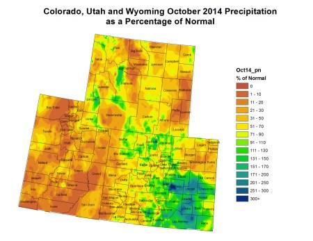 Upper Colorado River Basin October 2014 precipitation as a percent of normal via the Colorado Climate Center