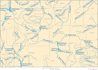 Wyoming rivers map via Geology.com