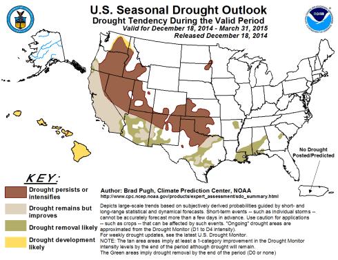 Seasonal Drought Outlook December 18, 2014 thru March 31, 2015 via the Climate Prediction Center