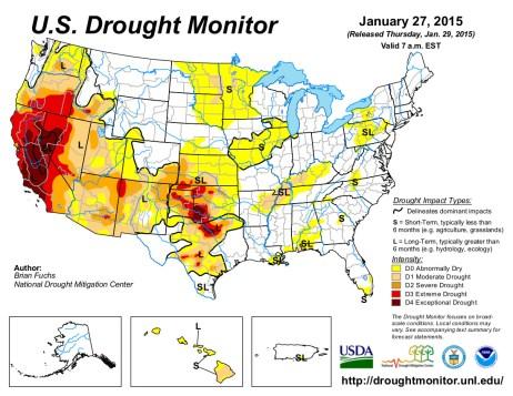 US Drought Monitor January 27, 2015