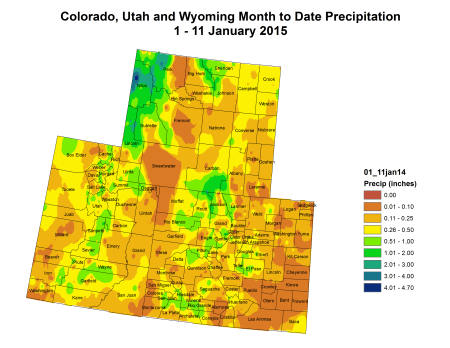 Upper Colorado River Basin precipitation to date January 1 thru 15, 2015 via the Colorado Climate Center
