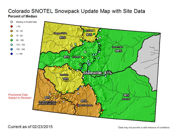 Statewide snowpack February 23, 2015 via the NRCS