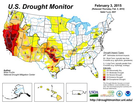 US Drought Monitor February 3, 2015