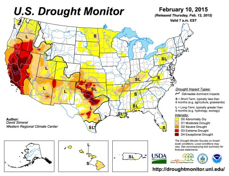 US Drought Monitor February 20, 2015