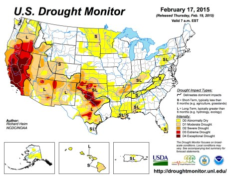 US Drought Monitor February 15, 2015