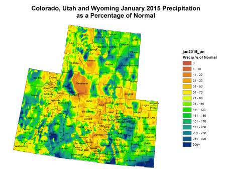 Upper Colorado River Basin precipitation as a percent of normal January 2015 via the Colorado Climate Center