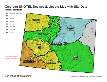 Statewide snowpack map March 2, 2015 via the NRCS