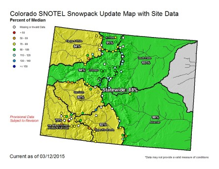Statewide snowpack March 12, 2015 via the NRCS